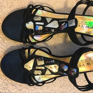 30a3731ff831 DSW Shoes - Black jeweled wedge mid heel sandals Size 11